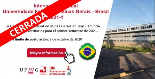 Intercambio Virtual Universidade Federal de Minas Gerais - Brasil 2021-1