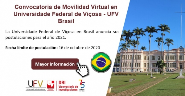 CONVOCATORIA MOVILIDAD VIRTUAL EN UNIVERSIDADE FEDERAL DE VIÇOSA - UFV BRASIL